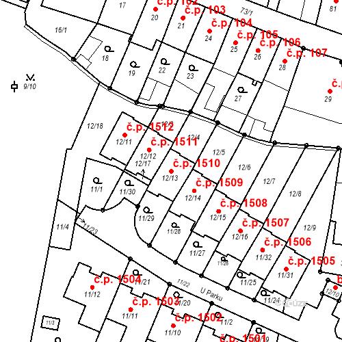 Katastrální mapa Stavební objekt Fryštát 1510, Karviná