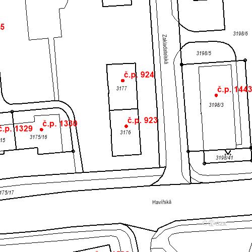 Katastrální mapa Stavební objekt Nové Město 923, Karviná