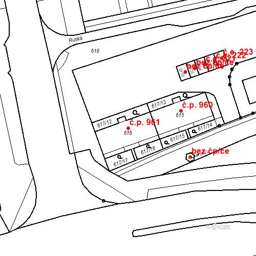 Katastrální mapa Stavební objekt Nové Město 961, Karviná