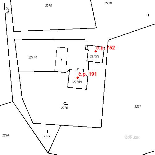 Katastrální mapa Stavební objekt Albrechtice 191, Albrechtice