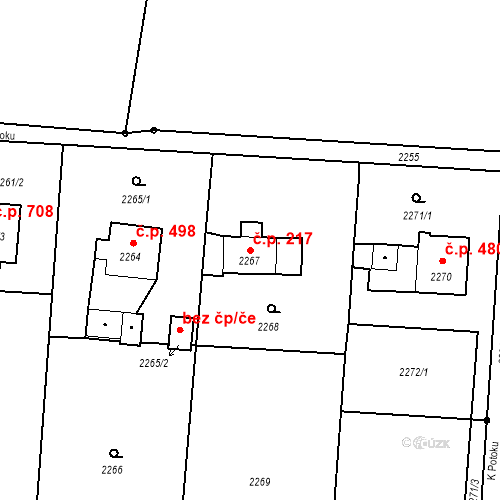 Katastrální mapa Stavební objekt Albrechtice 217, Albrechtice