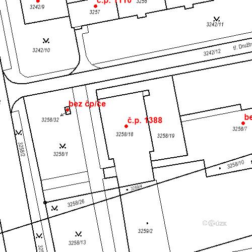 Katastrální mapa Stavební objekt Nové Město 1388, Karviná