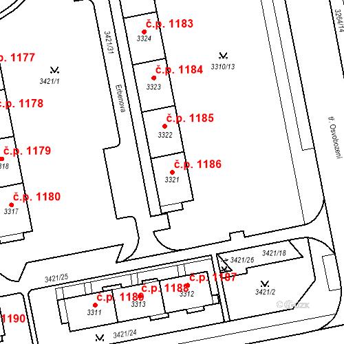 Katastrální mapa Stavební objekt Nové Město 1186, Karviná