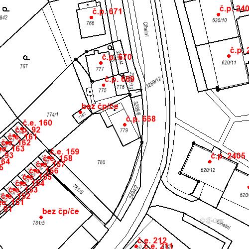Katastrální mapa Stavební objekt Nové Město 668, Karviná