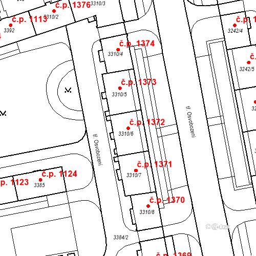Katastrální mapa Stavební objekt Nové Město 1372, Karviná