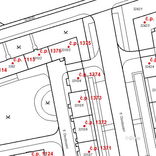 Katastrální mapa Stavební objekt Nové Město 1374, Karviná