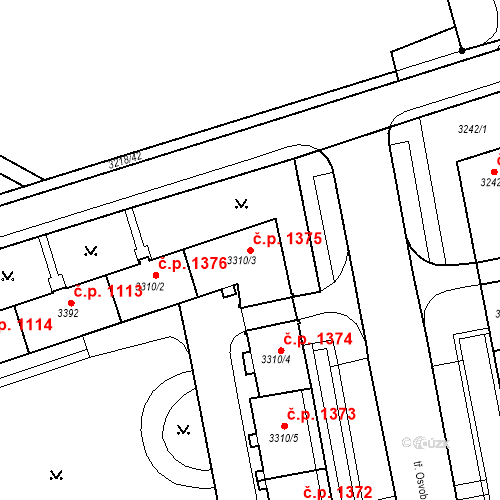 Katastrální mapa Stavební objekt Nové Město 1375, Karviná