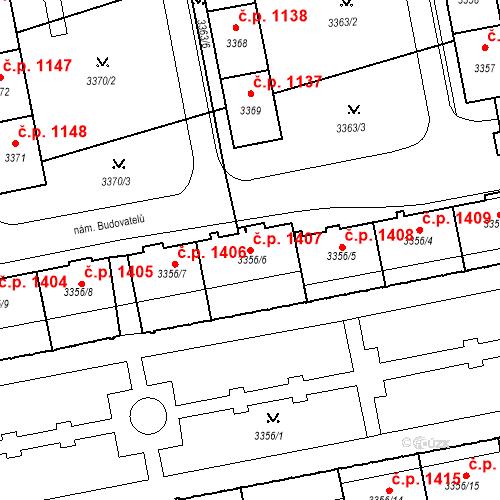 Katastrální mapa Stavební objekt Nové Město 1407, Karviná