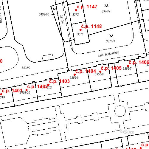 Katastrální mapa Stavební objekt Nové Město 1404, Karviná