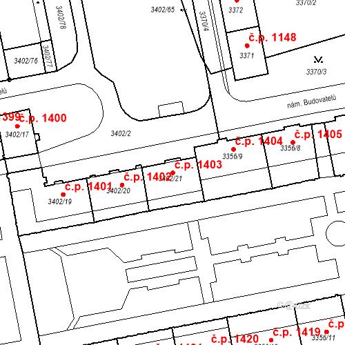 Katastrální mapa Stavební objekt Nové Město 1403, Karviná