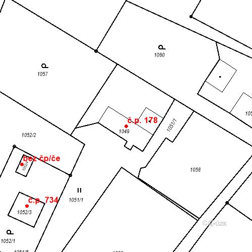 Katastrální mapa Stavební objekt Albrechtice 178, Albrechtice
