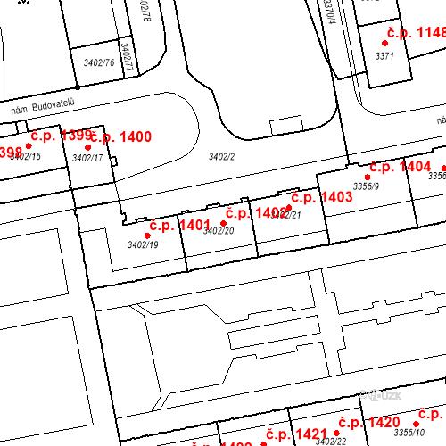 Katastrální mapa Stavební objekt Nové Město 1402, Karviná