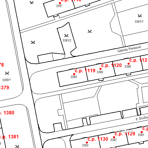 Katastrální mapa Stavební objekt Nové Město 1119, Karviná