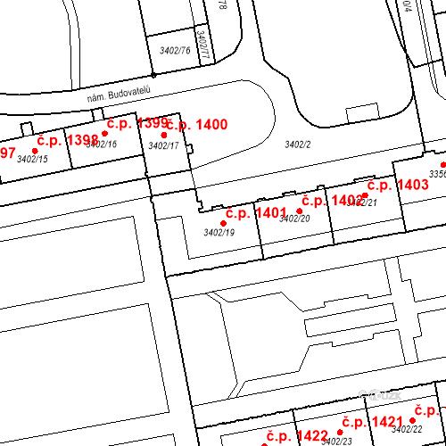 Katastrální mapa Stavební objekt Nové Město 1401, Karviná