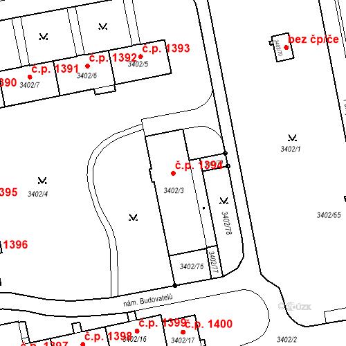 Katastrální mapa Stavební objekt Nové Město 1394, Karviná