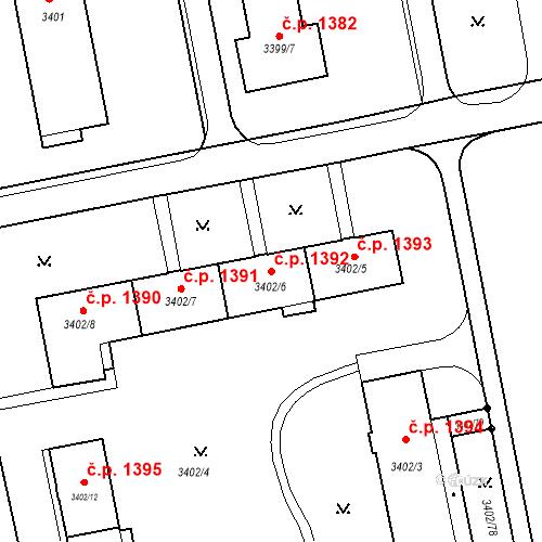 Katastrální mapa Stavební objekt Nové Město 1392, Karviná