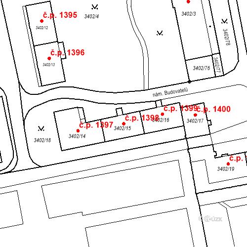 Katastrální mapa Stavební objekt Nové Město 1398, Karviná