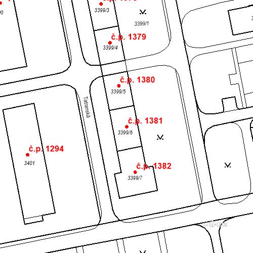 Katastrální mapa Stavební objekt Nové Město 1381, Karviná