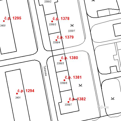 Katastrální mapa Stavební objekt Nové Město 1380, Karviná