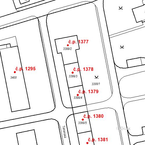 Katastrální mapa Stavební objekt Nové Město 1378, Karviná