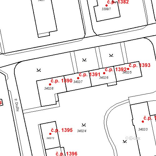 Katastrální mapa Stavební objekt Nové Město 1391, Karviná