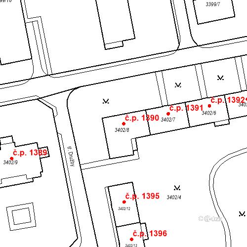 Katastrální mapa Stavební objekt Nové Město 1390, Karviná