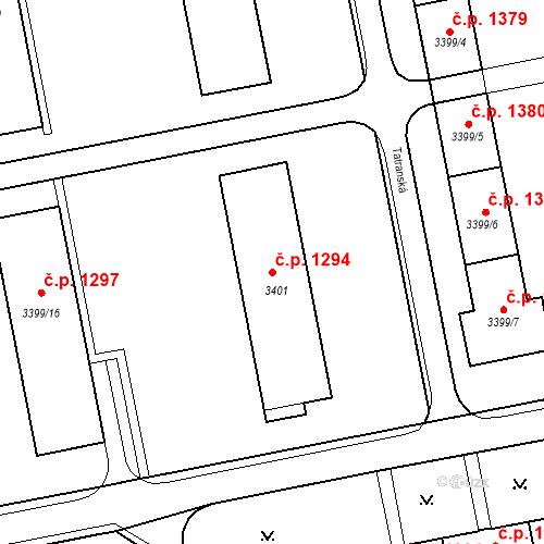 Katastrální mapa Stavební objekt Nové Město 1294, Karviná