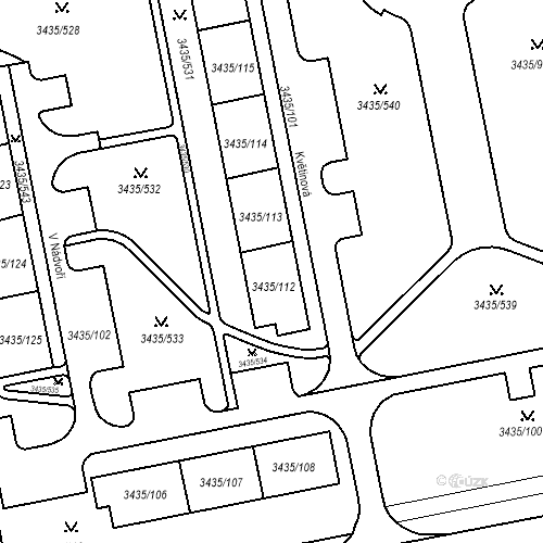 Katastrální mapa Stavební objekt Nové Město 1274, Karviná