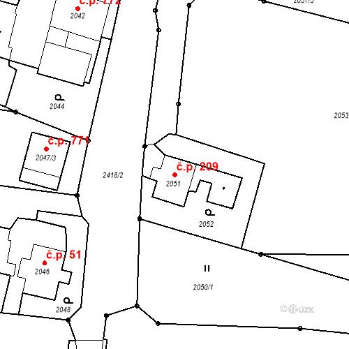 Katastrální mapa Stavební objekt Albrechtice 209, Albrechtice