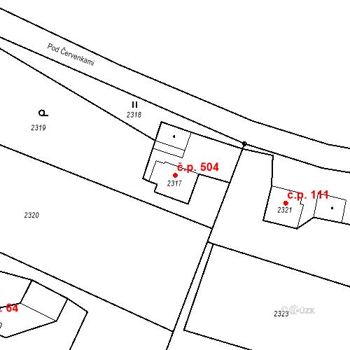 Katastrální mapa Stavební objekt Albrechtice 504, Albrechtice