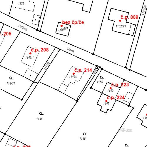 Katastrální mapa Stavební objekt Albrechtice 214, Albrechtice