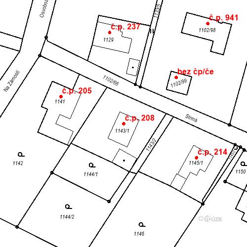 Katastrální mapa Stavební objekt Albrechtice 208, Albrechtice