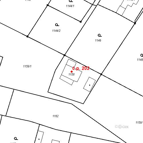 Katastrální mapa Stavební objekt Albrechtice 202, Albrechtice