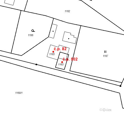 Katastrální mapa Stavební objekt Albrechtice 502, Albrechtice