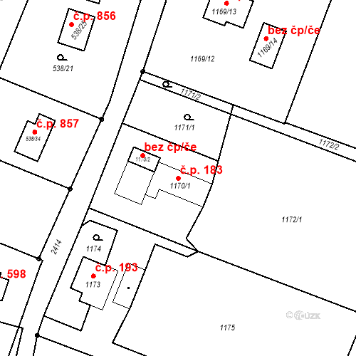 Katastrální mapa Stavební objekt Albrechtice 183, Albrechtice