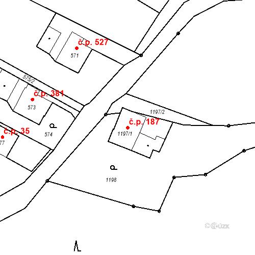 Katastrální mapa Stavební objekt Albrechtice 187, Albrechtice
