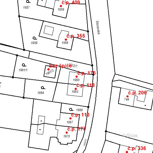 Katastrální mapa Stavební objekt Albrechtice 176, Albrechtice