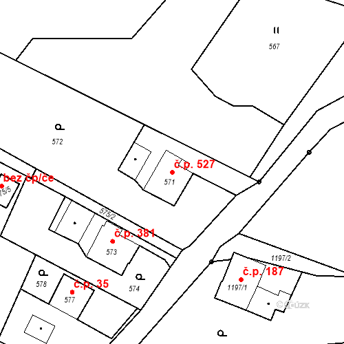 Katastrální mapa Stavební objekt Albrechtice 527, Albrechtice