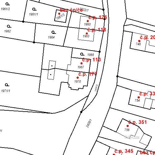 Katastrální mapa Stavební objekt Albrechtice 177, Albrechtice
