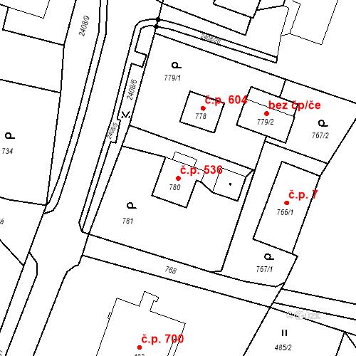 Katastrální mapa Stavební objekt Albrechtice 536, Albrechtice