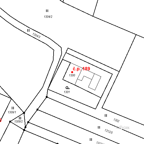 Katastrální mapa Stavební objekt Albrechtice 189, Albrechtice