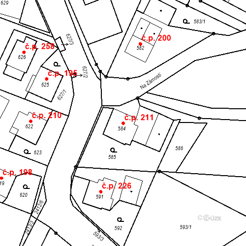 Katastrální mapa Stavební objekt Albrechtice 211, Albrechtice