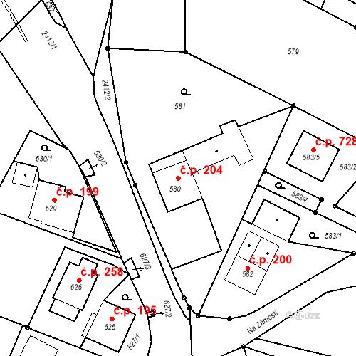 Katastrální mapa Stavební objekt Albrechtice 204, Albrechtice