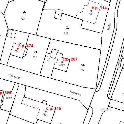 Katastrální mapa Stavební objekt Albrechtice 207, Albrechtice