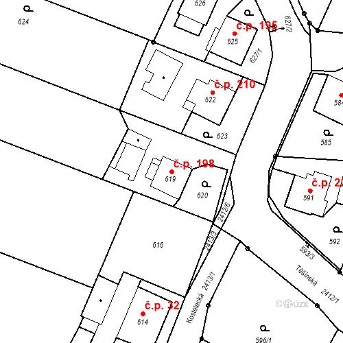 Katastrální mapa Stavební objekt Albrechtice 198, Albrechtice