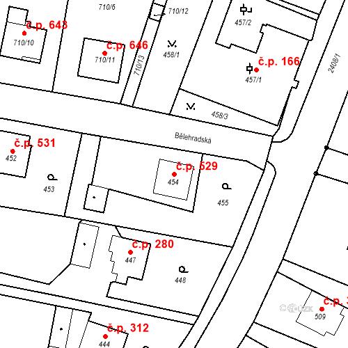 Katastrální mapa Stavební objekt Albrechtice 529, Albrechtice
