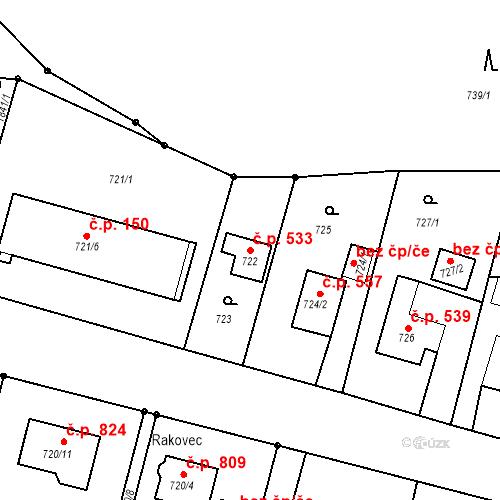 Katastrální mapa Stavební objekt Albrechtice 533, Albrechtice
