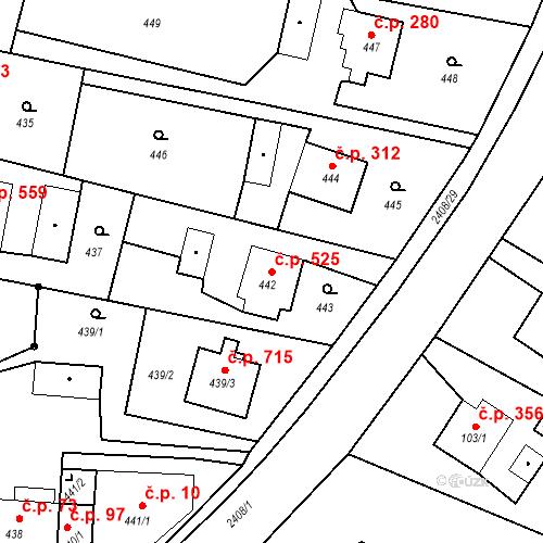Katastrální mapa Stavební objekt Albrechtice 525, Albrechtice