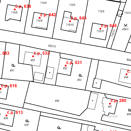 Katastrální mapa Stavební objekt Albrechtice 531, Albrechtice