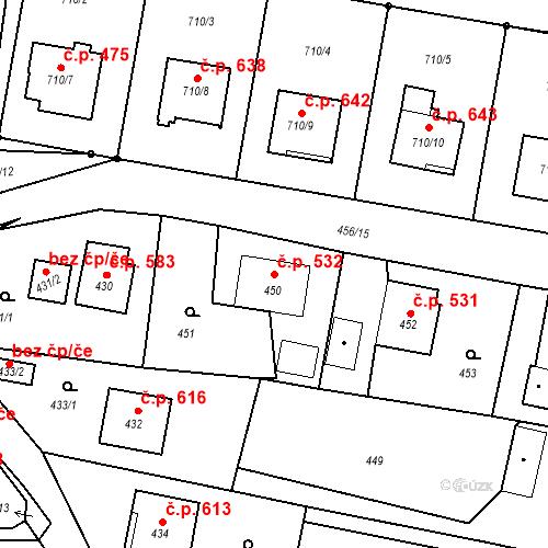 Katastrální mapa Stavební objekt Albrechtice 532, Albrechtice